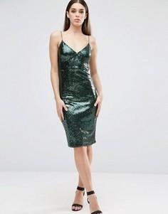 Платье миди на бретельках с пайетками Club L - Зеленый
