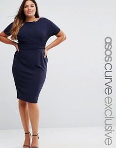 Платье с широкими рукавами ASOS CURVE - Темно-синий