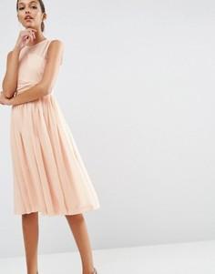 Платье миди с драпированной вставкой ASOS WEDDING - Розовый