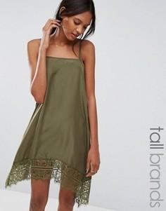 Платье на тонких бретельках с кружевным подолом Vero Moda Tall - Зеленый