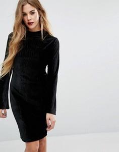 Бархатное платье с высокой горловиной First & I - Черный
