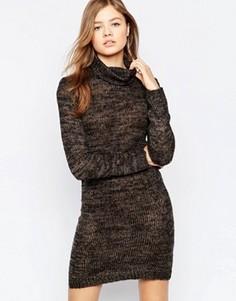 Облегающее платье с высокой горловиной и блестками b.Young - Коричневый