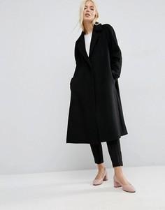 Пальто-трапеция средней длины из шерстяной смеси ASOS - Черный