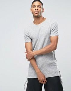 Длинная фактурная футболка облегающего кроя ASOS - Серый