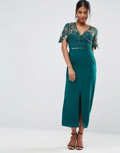 Платье миди с запахом и отделкой Virgos Lounge - Зеленый