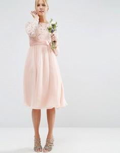 Платье миди с кружевом и бантом ASOS WEDDING - Розовый