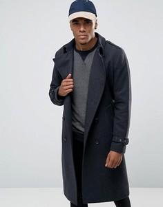 Серое меланжевое двубортное пальто из шерстяной смеси ASOS - Серый