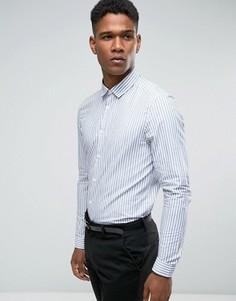 Темно-синяя рубашка стандартного кроя в полоску ASOS - Темно-синий