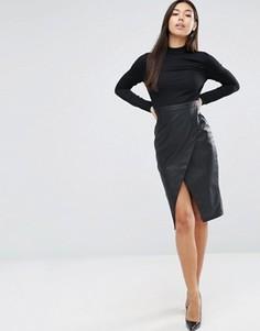 Платье с длинными рукавами и юбкой из искусственной кожи ASOS - Черный