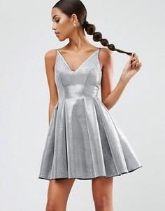 Платье мини для выпускного из нетканого полотна ASOS NIGHT - Серебряный