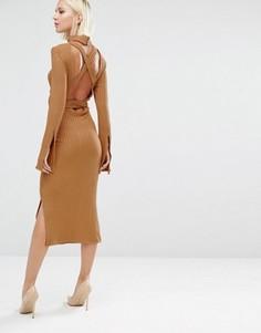 Платье миди в рубчик с открытой спиной и поясом Lavish Alice - Рыжий