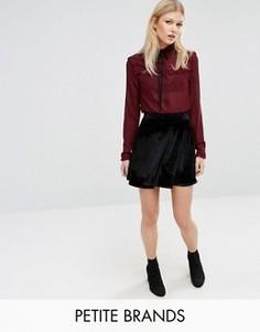 Бархатная расклешенная юбка Boohoo Petite - Черный