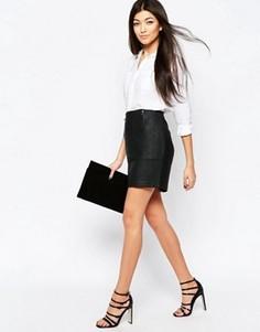 Короткая юбка с молнией Ichi - Черный