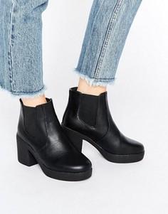 Массивные ботинки челси на каблуке Truffle - Черный