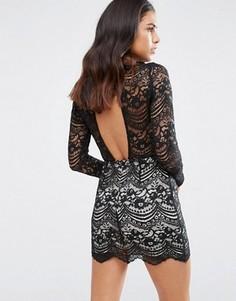 Кружевное платье с высокой горловиной Love & Other Things - Черный