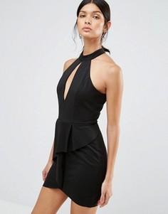 Платье с вырезом капелькой и баской Love & Other Things - Черный