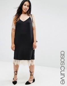 Платье на бретельках с кружевной футболкой ASOS CURVE - Черный