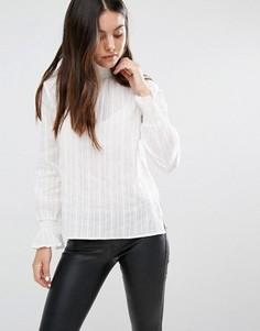 Блузка в рубчик с высоким воротом Minimum Moves - Белый