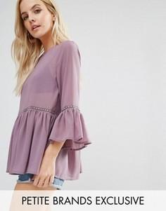 Полупрозрачная блузка с оборкой Glamorous Petite - Фиолетовый