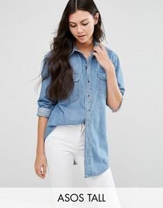Синяя джинсовая рубашка бойфренда ASOS TALL - Синий