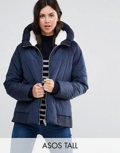 Дутая куртка с трикотажной вставкой на капюшоне ASOS TALL - Темно-синий