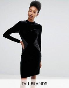 Бархатное облегающее платье со вставками Y.A.S Tall Luvy - Черный