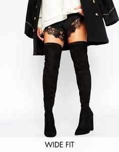 Сапоги-ботфорты для широкой стопы с острым носком ASOS KARMEN - Черный