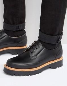 Изготовленные в Англии черные кожаные туфли дерби ASOS - Черный