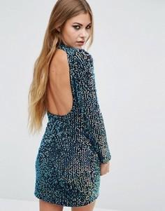 Облегающее платье с пайетками и открытой спиной Motel - Синий