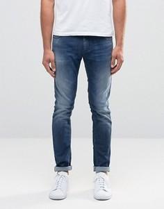 Синие суперзауженные джинсы с потертостями Sisley - Синий