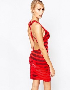 Полосатое платье мини с отделкой пайетками City Goddess - Красный