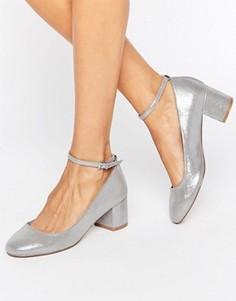 Серебристые туфли на каблуке с ремешком вокруг щиколотки Faith Alexa - Серебряный