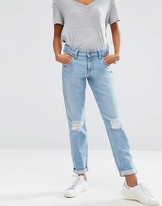 Синие джинсы бойфренда из стираного денима ASOS Kimmi Shrunken - Синий
