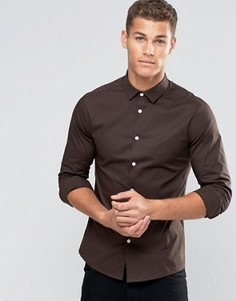 Темно-коричневая облегающая рубашка с длинными рукавами ASOS - Коричневый