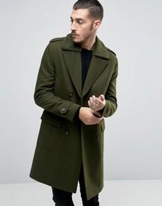 Полушерстяное пальто с меховым воротником борг ASOS - Зеленый