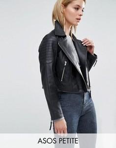 Байкерская кожаная куртка ASOS PETITE - Черный