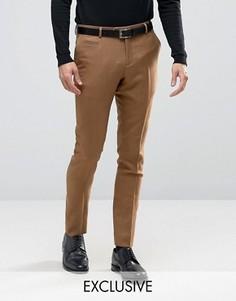 Строгие зауженные брюки в клетку Number Eight Savile Row - Бежевый