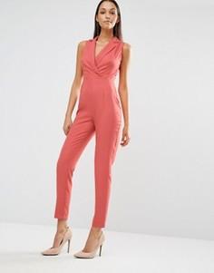 Креповый комбинезон в стиле смокинга Missguided - Розовый