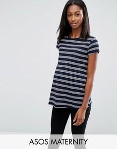 Полосатая футболка для беременных с круглым вырезом ASOS Maternity - Синий