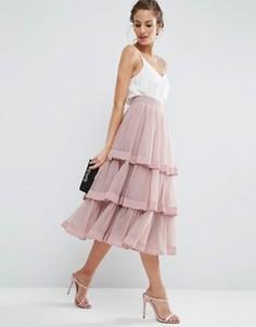 Многослойная юбка для выпускного из тюля с отделкой ASOS - Розовый