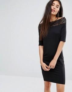 Платье с широким вырезом и кружевной отделкой Noisy May - Черный