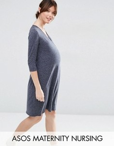 Домашнее платье с запахом для кормящих мам ASOS Maternity - Синий