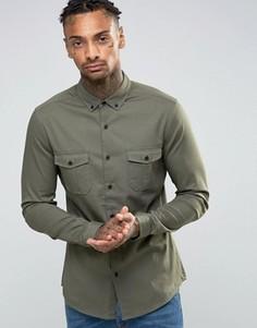 Зеленая рубашка скинни в стиле милитари ASOS - Зеленый