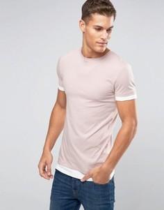 Розовая удлиненная футболка с контрастными манжетами и низом ASOS - Розовый
