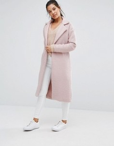 Фактурное пальто макси Missguided - Розовый