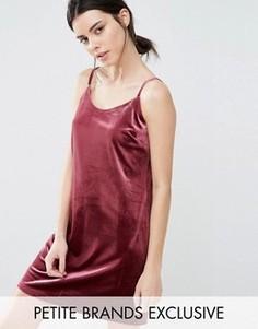 Бархатное платье-комбинация мини One Day Petite - Розовый