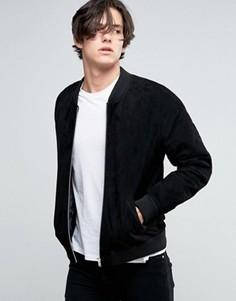 Черная замшевая куртка-пилот ASOS - Черный