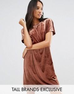 Цельнокройное бархатное платье мини One Day Tall - Коричневый