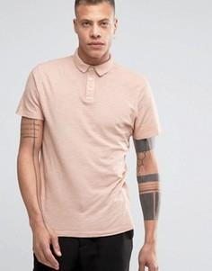 Футболка-поло слим из меланжевого трикотажа Selected - Розовый