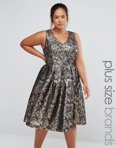 Жаккардовое платье для выпускного цвета металлик Chi Chi London Plus - Золотой